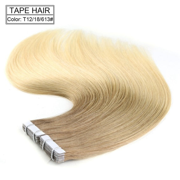 "Tape in 100% Human Hair Remy Hair Extensions 16"" 18"" 20"" 22"" 20pcs/pack 14 Colors"