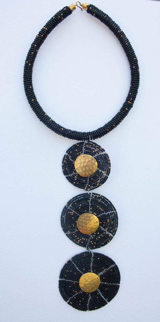 Maasai Long three-tiered necklace with metal/bead pendants