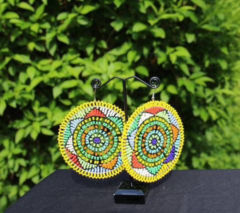 XL Beaded Earrings (Yellow)