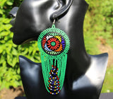 Large Beaded Earrings - Round and Layered drop (various colours)