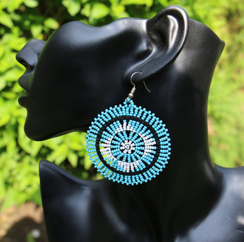 Zulu Beaded Dangle Earrings - Intricate Design