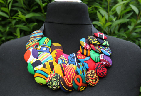 Ankara Layered Button Necklace