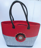 Maasai Tote Handbag with leather handle - Red, Blue