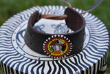 Leather Bracelet with Maasai beads in circular pattern.