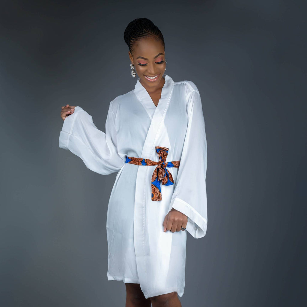 Bridesmaids Dressing Robes made with Silk Ankara Print Fabric