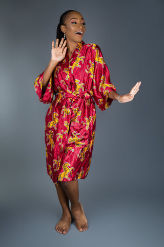 Bridesmaids Dressing Robes made with Satin Ankara Print Fabric