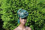 Tie and Dye (Adiré) Cotton/ Tie and Dye Patterned Ankara Headwraps with XL Stud Earring set.