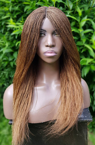 Micro 'Million' Braid Wig with lace parting (Black, Burgundy and Honey Gold)
