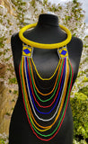 Zulu Hoop and Layered Necklace with Earrings Set- Five colours
