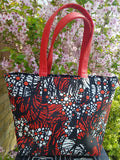 Ankara Print and Faux Leather Tote  Handbags
