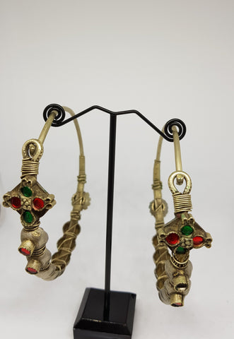 Antique Kashmiri Hoop Earrings