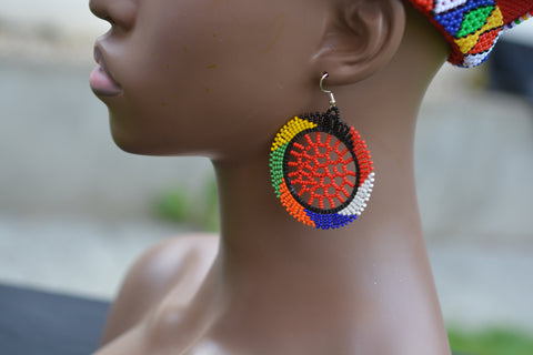 Zulu Beaded Dangle Earrings - handmade