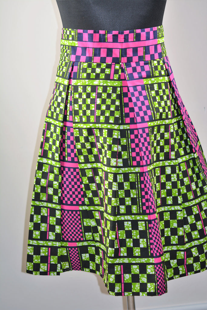 Pleated Skirt made with Ankara Print Fabric