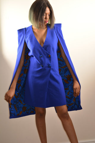 Tuxedo Cape Dress with Ankara Print detail