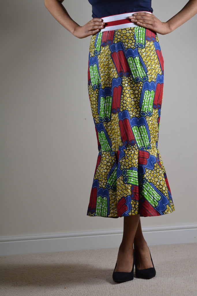 High Waist Flared Pencil Midi Skirt - Ankara Print Fabric