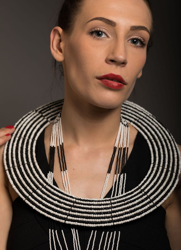Maasai Monochrome traditional collar necklace