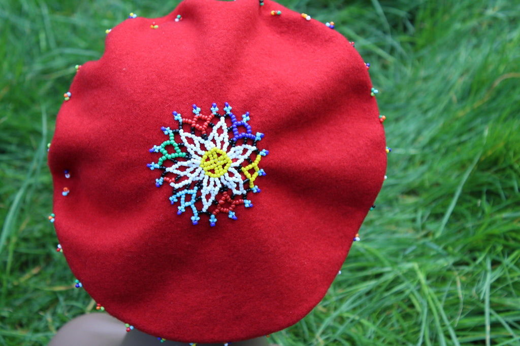 Wool Beret embellished with Beads - Red & Black