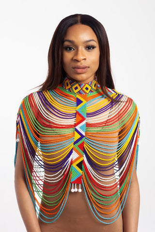 Body Jewellery - Multicoloured Zulu Beaded Shawl