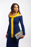 Ndebele Clutch Purse made with beads and woven canvas fabric