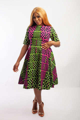 Midi Flared Ankara Dress embellished with rhinestone.