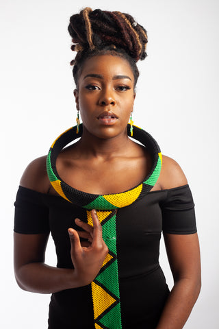 Isigolwani Neck Ring and Hoop - Black/Yellow/ Green)