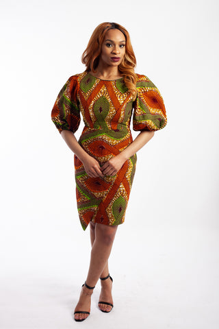 Puff sleeve Ankara Dress embellished with Rhinestones