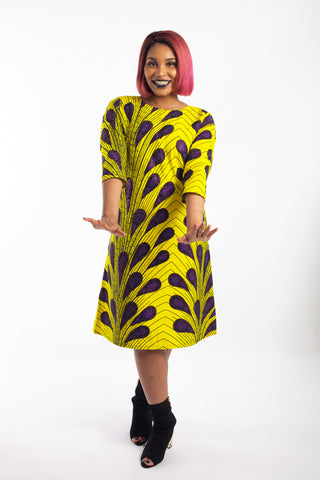 Jewelled Ankara Dress with pockets  - Yellow and Purple