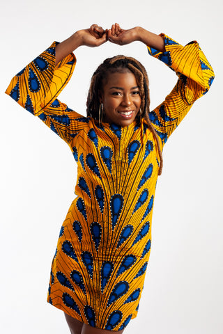 Mini Ankara Dress with bell sleeves embellished with Rhinestones