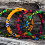 Wooden bangles made with ankara fabric