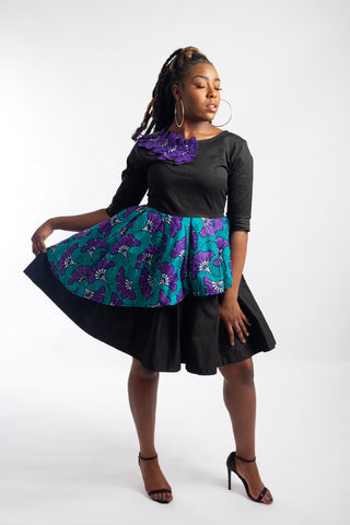 Black / Ankara (Blue and Purple) layered bell dress embellished with Rhinestones