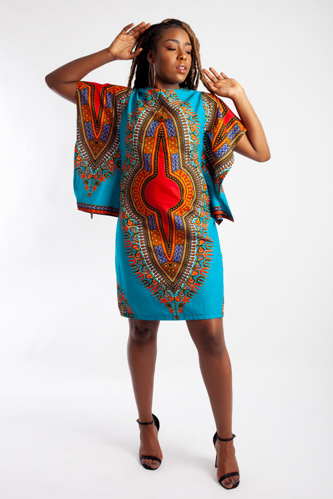 Dashiki Mini Dress (Batwing)
