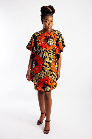 Floaty Batwing Dress made with Ankara and embellished with Rhinestones