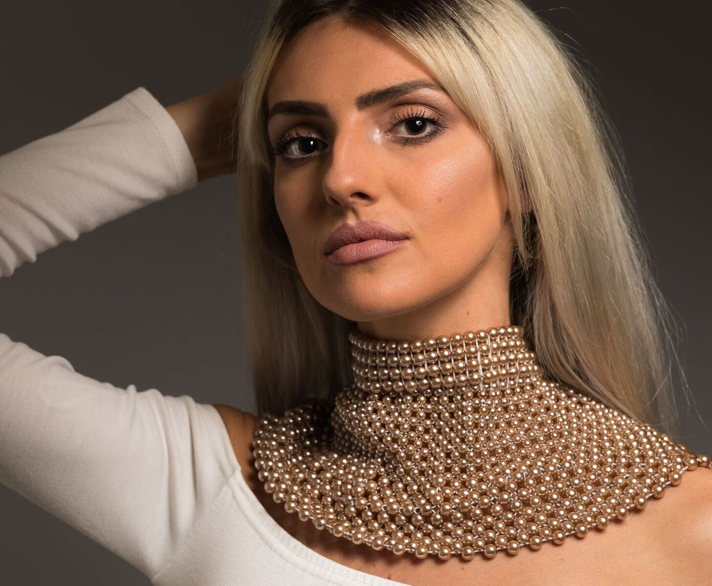 Queen Nandi Collection - Shoulder Jewellery made with ceramic beads - Rose Gold