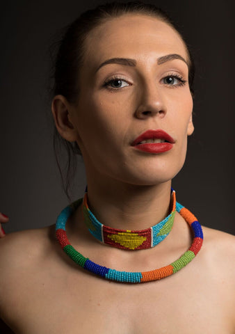 Multicoloured Choker and Strand Necklace Set