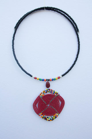 Maasai bib necklace with glass earring set
