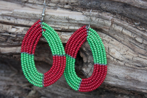 Colourful Threaded  and Beaded Earrings