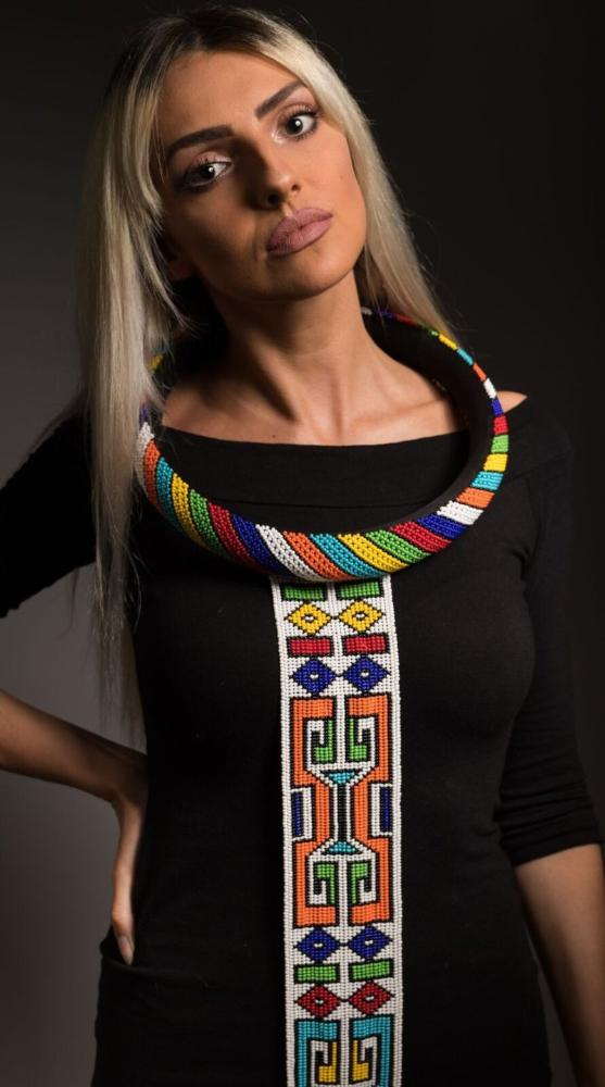 Isigolwani (neck ring) with beaded tie necklace (Torso/ Thigh length) - Multicoloured