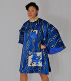 Blue mini dress with exaggerated extra long bell sleeves