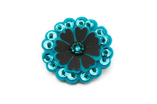 Sparkly Flower - Petroleum Blue