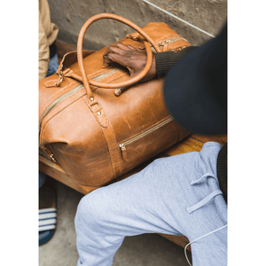 The Hand-Stitched Duffle  - Tan - SWISH & SWANK