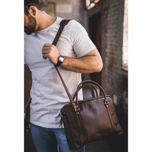 Boaz Briefcase - Brown - SWISH & SWANK