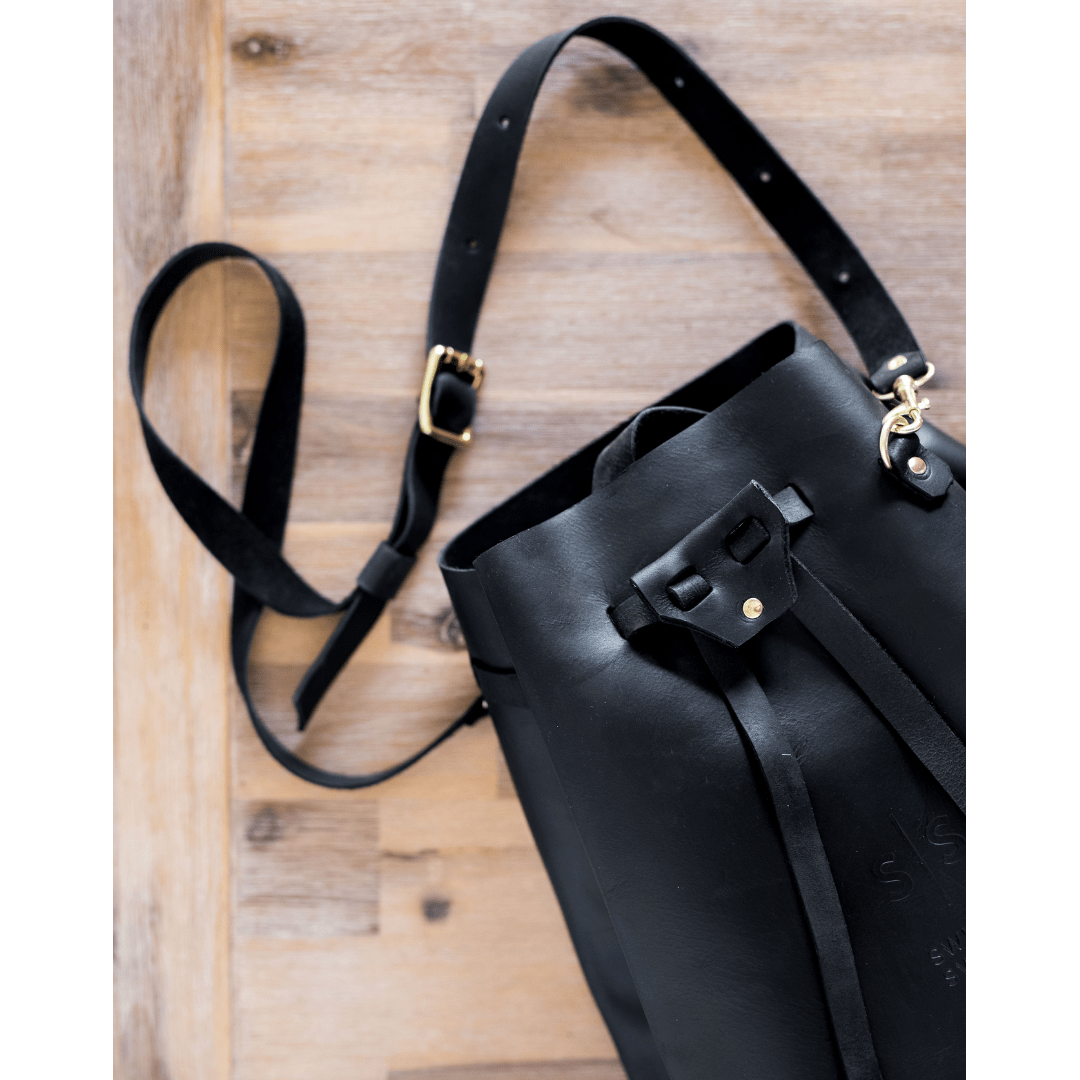 black leather, bucket bag, fashion, genuine leather, hand stitched leather, handbags, Leather, leather brand south africa, leather handbag, Leather Luggage, leather tote bag, luxury luggage, sling bag, south african leather, swish and swank Handbag