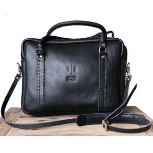Boaz Briefcase - Black - SWISH & SWANK