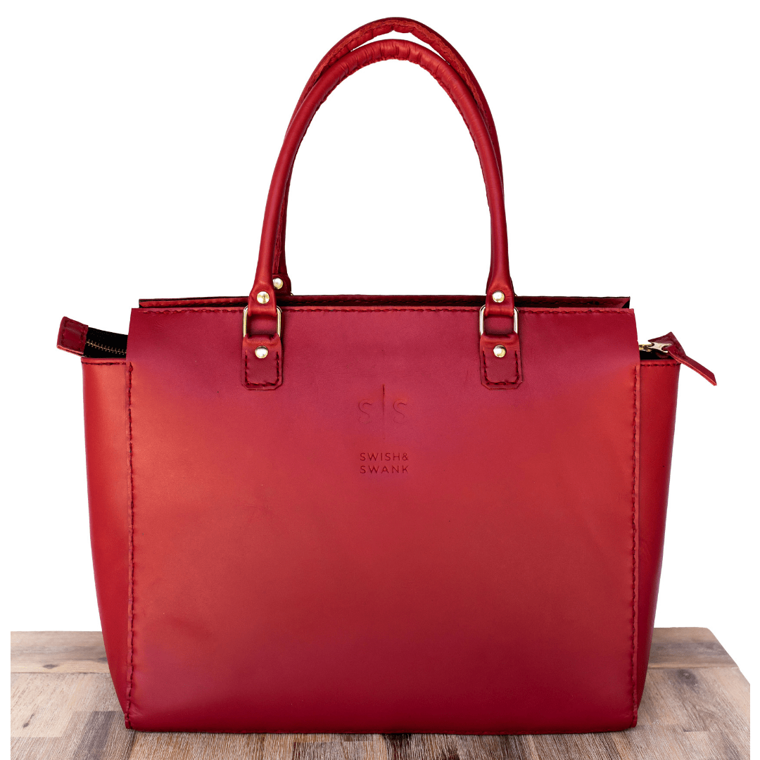 hand stitched bags, hand stitched leather, handbags, Leather, Leather bag, leather brand south africa, leather goods, leather handbag, Leather Luggage, leather tote bag, luxury luggage, red handbag, south african leather, swish and swank, Travel bag Handbag