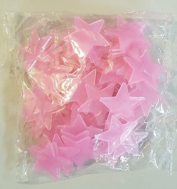 Glow in the Dark Stars Pink 100pc