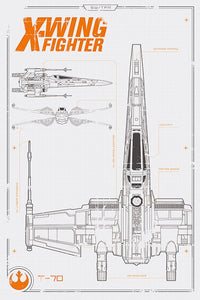 Star Wars X-Wing Blueprints Poster