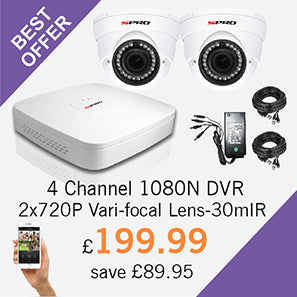 4 Channel 1080N DVR with 2x1MP Cameras with 30m IR - Only £199.99