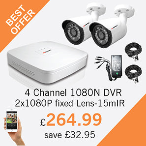 4 Channel 1080N DVR with 2 HD fixed lens CCTV cameras with 15m IR - only £264.99