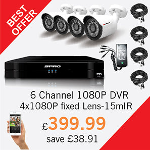 6 Channel 1080P DVR with 4 HD fixed lens CCTV cameras - £399.99