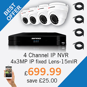 4 Channel IP NVR with 4 x 3MP IP CCTV Cameras - £699.99